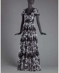 Dolce & Gabbana - Black Long Dress In Printed Chiffon With Lace Appliqué - Lyst