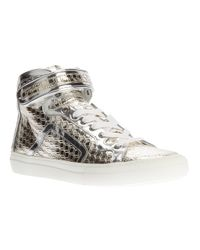 Pierre Hardy - Metallic Calf Leather Hitop Trainers for Men - Lyst