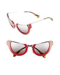 Miu Miu - Red 'noir' 52mm Semi-rimless Cat-eye Sunglasses - Lyst