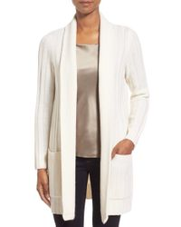Nordstrom Collection White Ribbed Wool & Cashmere Cardigan