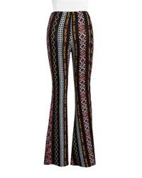 Lord & Taylor | Black Patterned Wide-leg Pants | Lyst