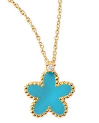 Roberto Coin | Blue 18k Yellow Gold Diamond Flower Pendant Necklace | Lyst