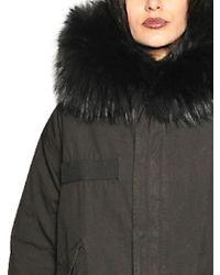Mr & Mrs Italy Black Hooded Cotton Parka W Murmansky Trim