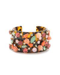 J.Crew | Multicolor Tortoise Wildflower Cuff Bracelet | Lyst