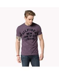 Tommy Hilfiger - Purple Cotton Printed T-shirt for Men - Lyst