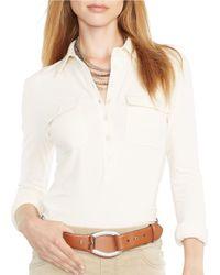 Lauren by Ralph Lauren - White Buttoned-placket Cotton Top - Lyst