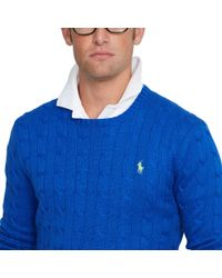 Polo Ralph Lauren Blue Cable-knit Cotton Sweater for men