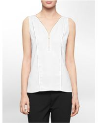 Calvin Klein | White Label Partial Zip High Low Sleeveless Top | Lyst