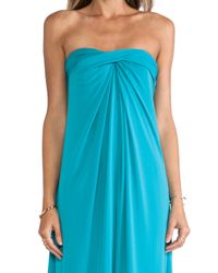 Halston Blue Strapless Structured Dress With Flare Skirt