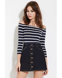 204829665ac098 Forever 21 Striped Off-the-shoulder Top in Blue - Lyst