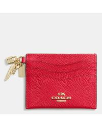 COACH Red Chinese New Year Charm Flat Card Case In Crossgrain Leather