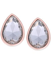 Tahari - Pink T Rose Gold-tone Crystal Pear Clip-on Earrings - Lyst