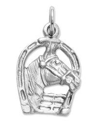 Macy's | Metallic 14k White Gold Charm, Horse Head In Horseshoe Charm | Lyst