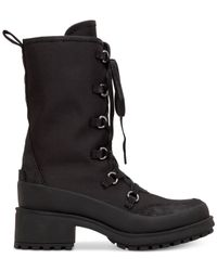 Lucky Brand Black Women's Alascan Tall Lace-up Faux-fur Hiker Booties