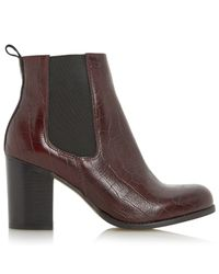 Dune Purple Prynn Block Heeled Ankle Boots