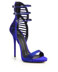 Giuseppe Zanotti | Blue Suede & Satin Cage Sandals | Lyst