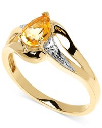 Macy's | Metallic Citrine (5/8 Ct. T.w.) And Diamond Accent Ring In 10k Gold | Lyst