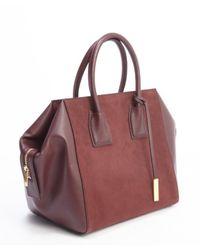 Stella McCartney - Purple Plum Bordeaux Faux Leather And Faux Suede 'beckett Boston' Shopper Tote - Lyst