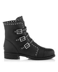 Jimmy Choo Black Darkle Leather Biker Boots
