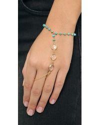 Ela Rae Blue Clara Hand Chain - Pink Sapphire/Quartz