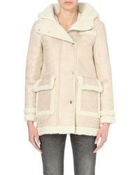 Maje Natural Gazelle Faux-shearling Coat