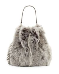 Ralph Lauren - Metallic Shearling Fur Bucket Bag - Lyst