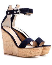 Gianvito Rossi Blue Camdeni Suede Wedge Sandals