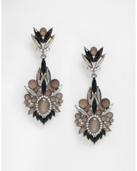 Little Mistress | Metallic Black Stone Drop Earrings | Lyst