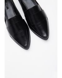 Forever 21 Black Faux Leather Pointed Loafers