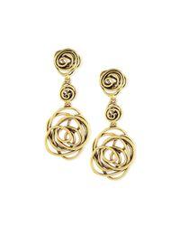 Oscar de la Renta | Metallic Wire Rose Clip-on Drop Earrings | Lyst