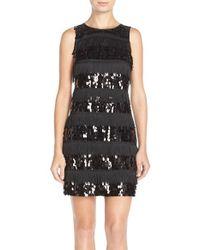 Eliza J Black Sequin & Fringe Crepe Shift Dress