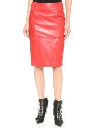 Moschino Cheap and Chic Leather Skirt Red