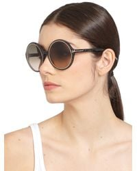 Tom Ford - Black Carrie 59mm Round Sunglasses - Lyst