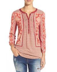 Lucky Brand | Red Scarf Print Henley Top | Lyst