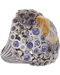 Stephen Dweck | Metallic Silver Gold Quartz Iolite Centre Orb Ring | Lyst