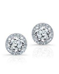 Anne Sisteron | 14kt White Gold White Topaz Diamond Stud Earrings | Lyst