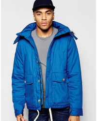 Native Youth Blue Arctic Parka Jacket With Curved Hem for men
