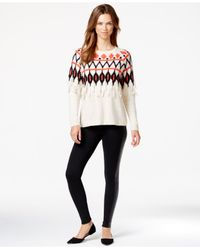 Kensie | Natural Printed Fringe-detail Tissue Knit Sweater | Lyst