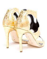 Rupert Sanderson | Metallic Leather Cut Out Sandals | Lyst