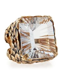 Stephen Dweck - Metallic Emeraldcut Quartz Floral Ring - Lyst