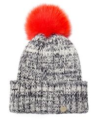 Yves Salomon | Orange Salt And Pepper Fur Bobble Beanie Hat | Lyst