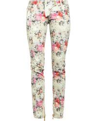 Balmain | White Printed Midrise Skinny Jeans | Lyst