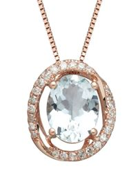 Lord & Taylor | Blue 14k Rose Gold Aqua And Diamond Pendant Necklace | Lyst