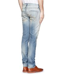 FDMTL Blue Distressed And Heavily Washed Cotton-blend Jeans for men