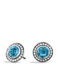 David Yurman Cerise Mini Earrings With Blue Topaz And Diamonds