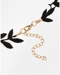 ASOS - Black Vine Leaf Choker Necklace - Lyst