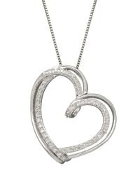 Lord & Taylor | Metallic Red Box Gallery Sterling Silver Diamond Heart Pendant Necklace | Lyst