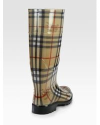 Burberry Natural Lisson Check Rubber Rain Boots