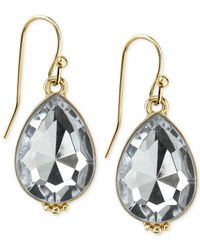 2028 | Metallic Gold-tone Crystal Teardrop Earrings | Lyst
