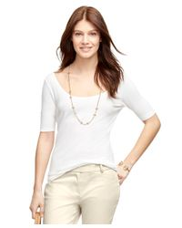 Brooks Brothers | White Jewel Neck Knit | Lyst